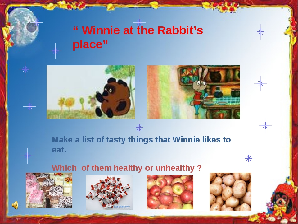 """"""" Winnie at the Rabbit's place"""" Make a list of tasty things that Winnie likes..."""