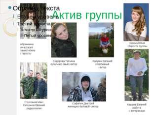 Актив группы Абрамкина Анастасия заместитель старосты Зорина Юлия староста гр