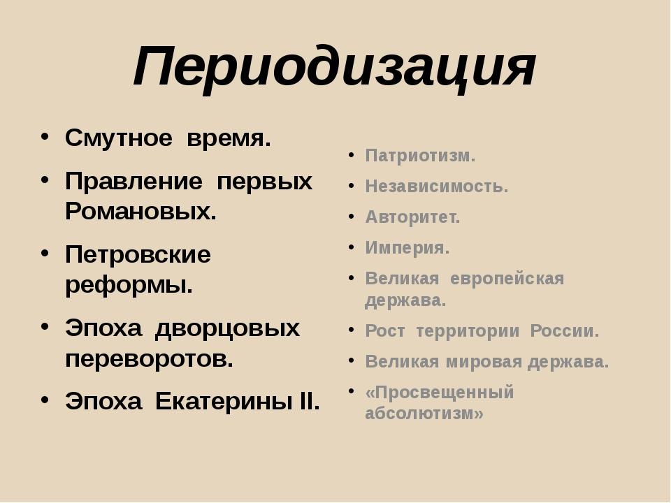 Периодизация Смутное время. Правление первых Романовых. Петровские реформы. Э...