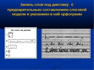 Запись слов под диктовку с предварительным составлением слоговой модели и ука