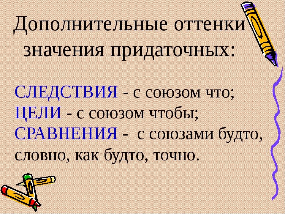 Дополнительные оттенки значения придаточных: СЛЕДСТВИЯ - с союзом что; ЦЕЛИ -...