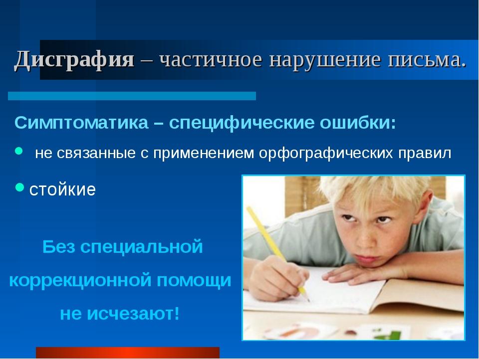 Дисграфия – частичное нарушение письма. Симптоматика – специфические ошибки:...