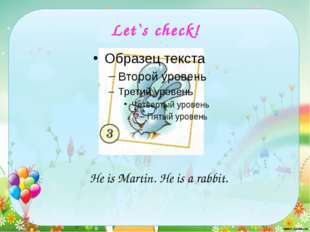 Let`s check! He is Martin. He is a rabbit.