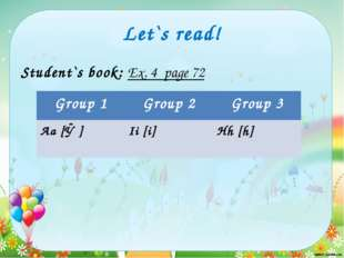 Let`s read! Student`s book: Ex. 4 page 72 Group 1 Group 2 Group 3 Аа[ǽ] Ii [i