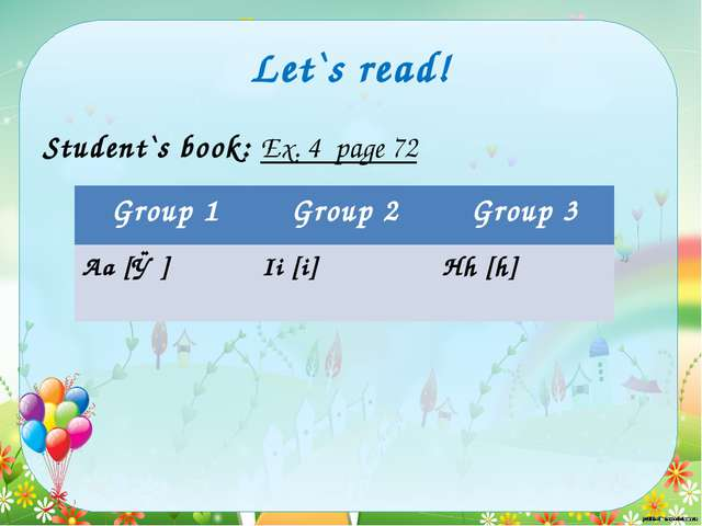 Let`s read! Student`s book: Ex. 4 page 72 Group 1 Group 2 Group 3 Аа[ǽ] Ii [i...