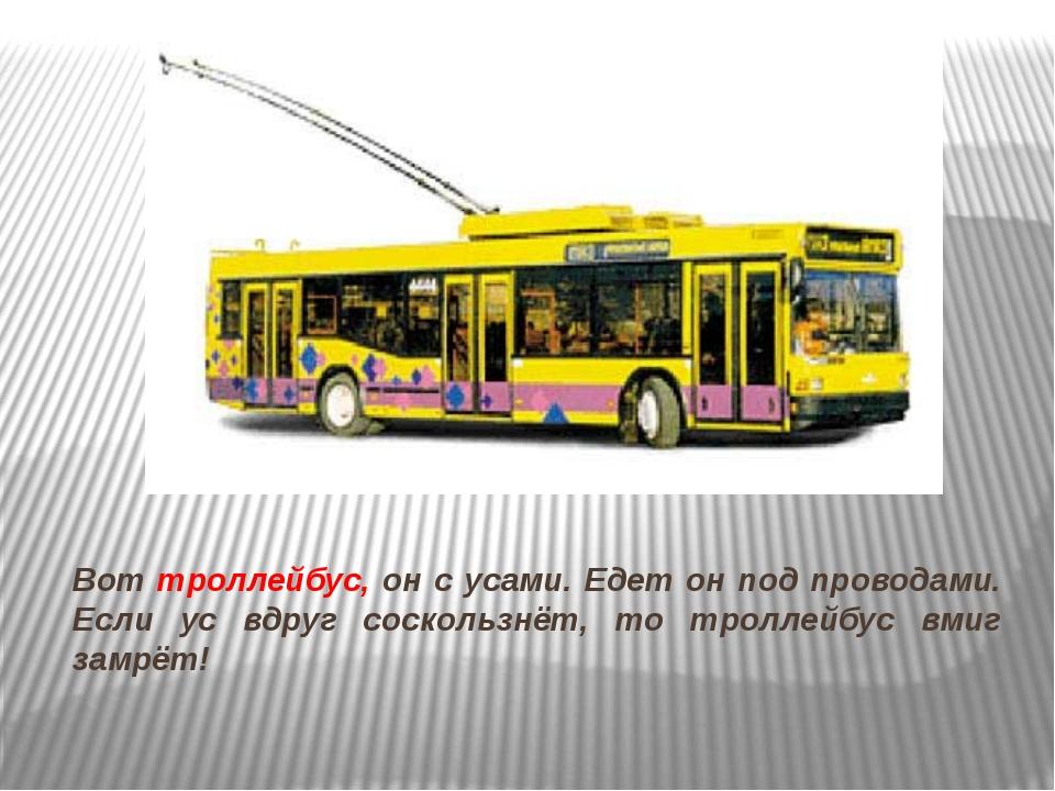 Вот троллейбус, он с усами. Едет он под проводами. Если ус вдруг соскользнёт...