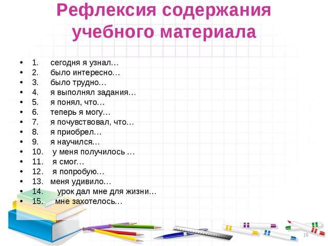 Рефлексия содержания учебного материала 1. сегодня я узнал… 2. было интересно...