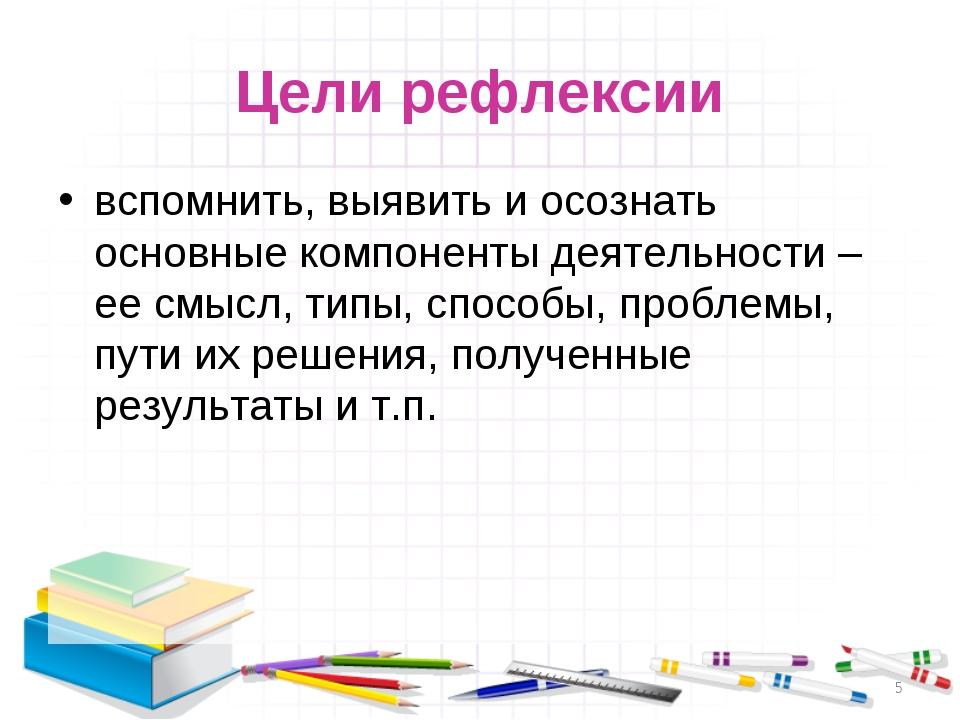 Цели рефлексии вспомнить, выявить и осознать основные компоненты деятельности...