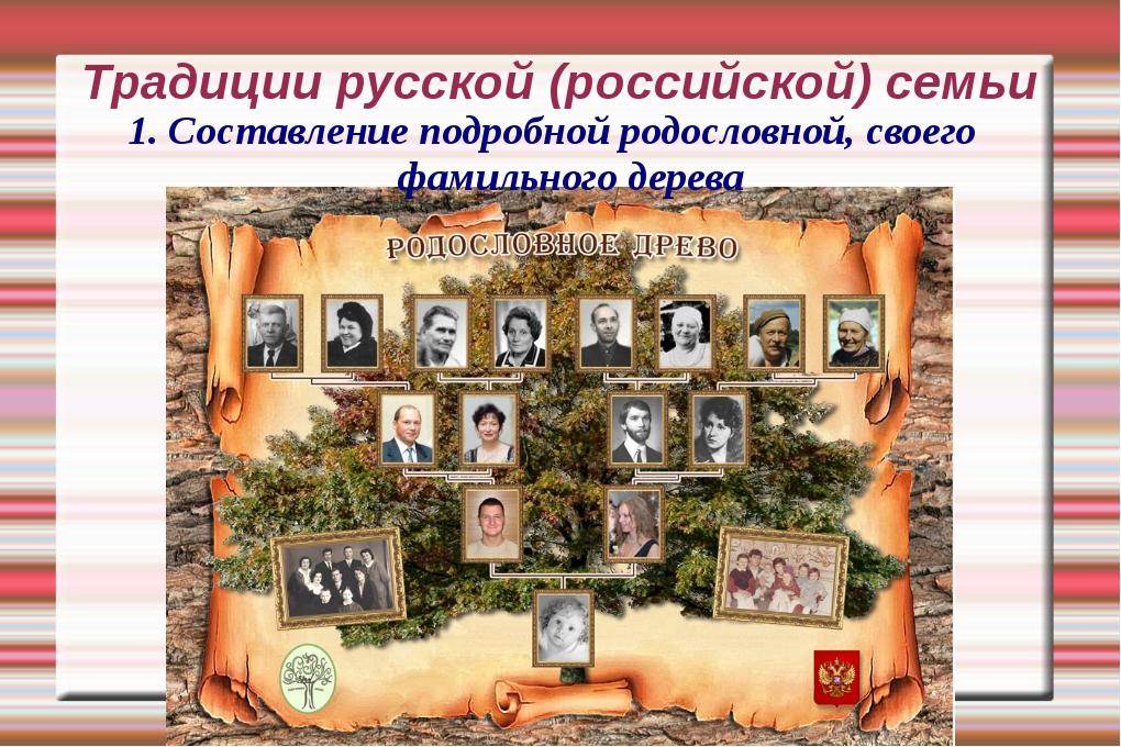 Традиции русской (российской) семьи 1. Составление подробной родословной, сво...