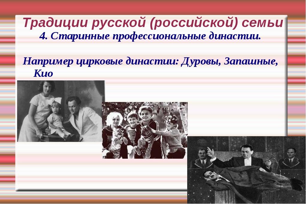 Традиции русской (российской) семьи 4. Старинные профессиональные династии. Н...