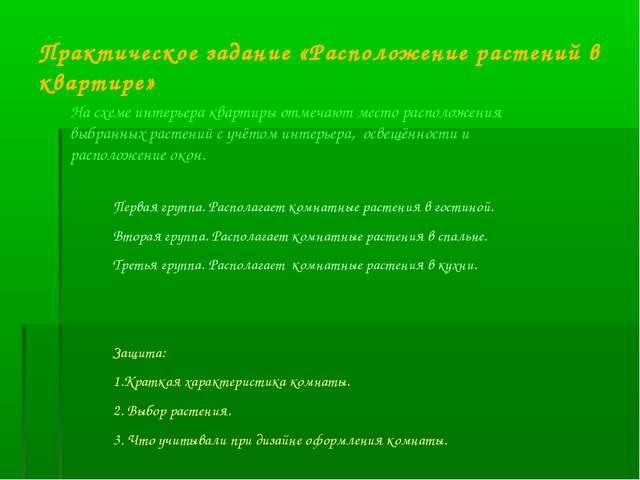 Практическое задание «Расположение растений в квартире» На схеме интерьера кв...