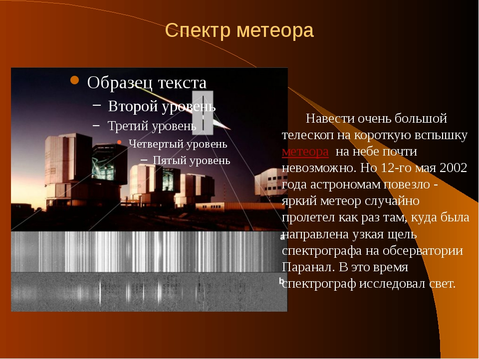 Спектр метеора Навести очень большой телескоп на короткую вспышку метеора на...