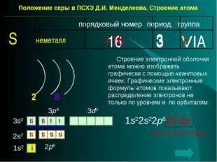 Положение серы в ПСХЭ Д.И. Менделеева. Строение атома. период группа порядков