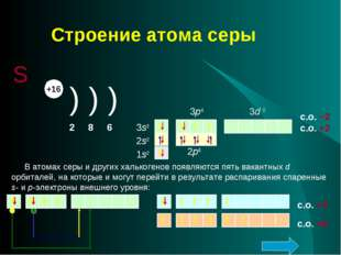 Строение атома серы S +16 ) ) ) 2 8 6 2s2 1s2 3p4 2p6 3s2 3d 0 1s2 2s2 2p6 3s
