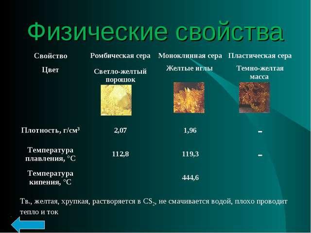 Физические свойства Тв., желтая, хрупкая, растворяется в CS2, не смачивается...