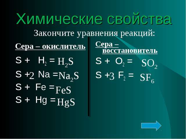 Химические свойства Сера – окислитель Сера – восстановитель Закончите уравнен...
