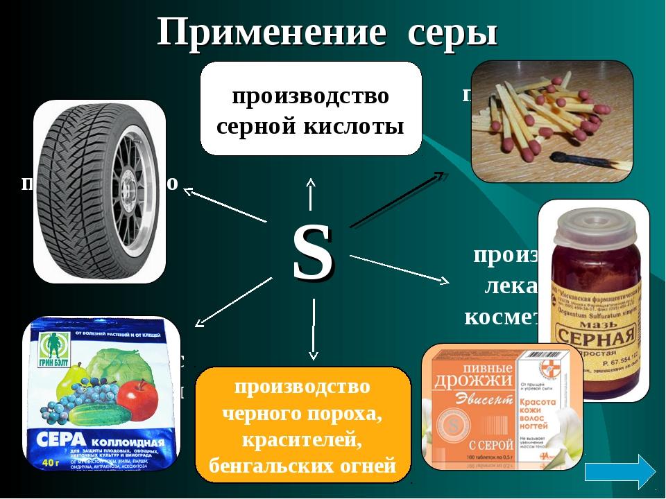 Применение серы S производство спичек производство лекарств и косметических п...