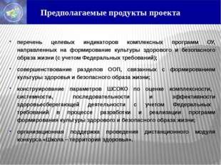 Предполагаемые продукты проекта перечень целевых индикаторов комплексных про