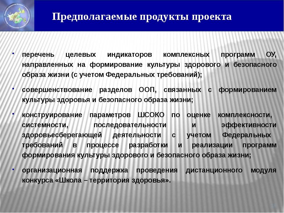 Предполагаемые продукты проекта перечень целевых индикаторов комплексных про...