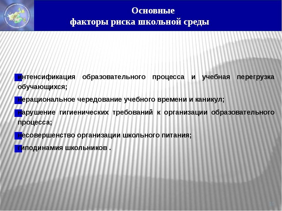 интенсификация образовательного процесса и учебная перегрузка обучающихся; н...