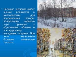 Большое значение имеет знание влажности в метеорологии для предсказания погод