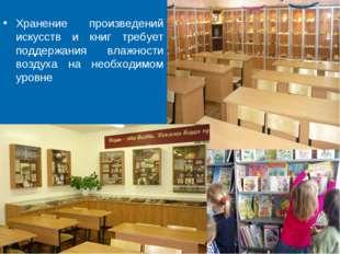 Хранение произведений искусств и книг требует поддержания влажности воздуха н