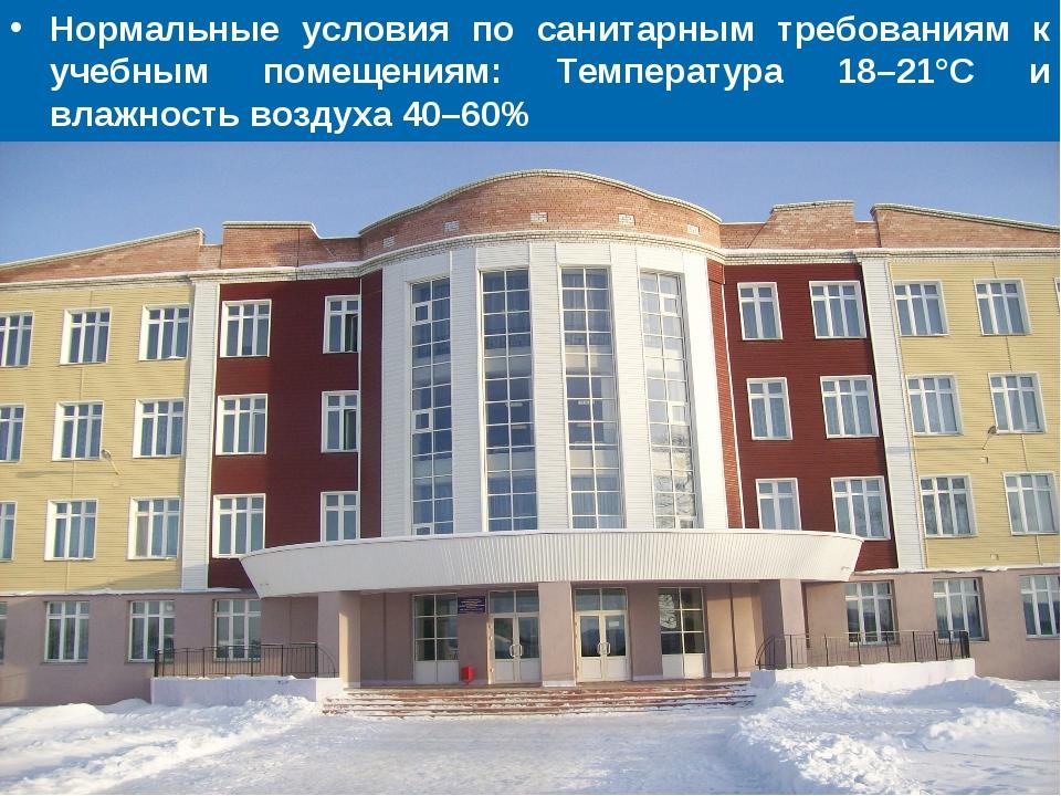 Нормальные условия по санитарным требованиям к учебным помещениям: Температур...