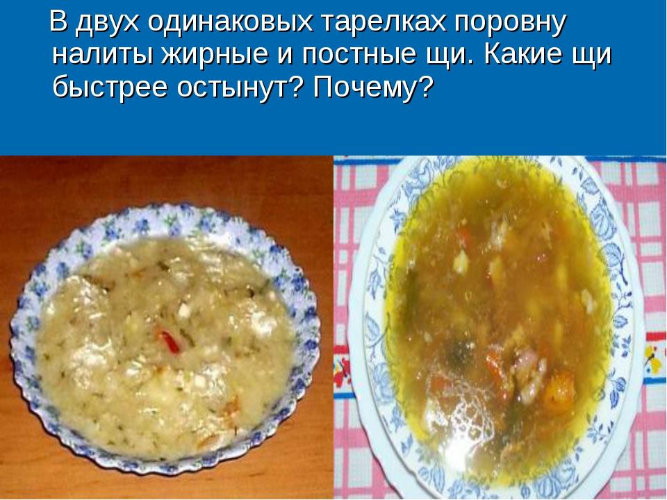 В двух одинаковых тарелках поровну налиты жирные и постные щи. Какие щи быст...