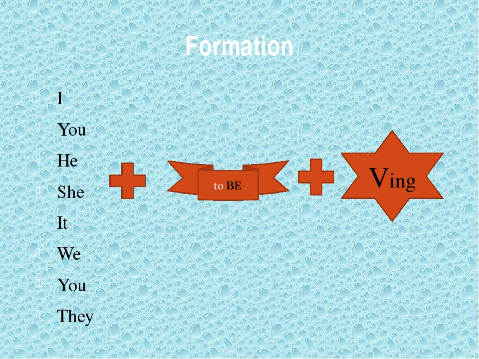 Formation I You He She It We You They to BE Ving