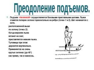 Подъем «лесенкой» осуществляется боковыми приставными шагами. Лыжи ставятся п