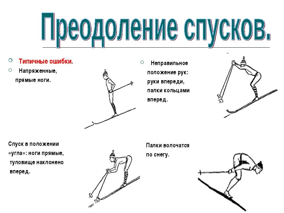 Типичные ошибки. Напряженные, прямые ноги. Спуск в положении «угла»: ноги пря...