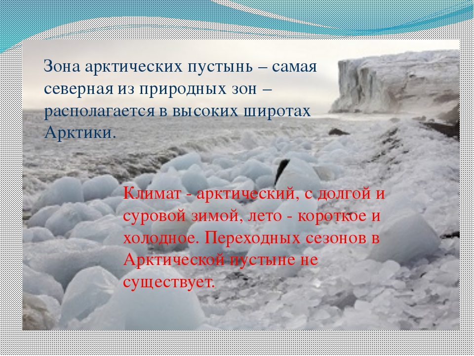 Зона арктических пустынь – самая северная из природных зон – располагается в...