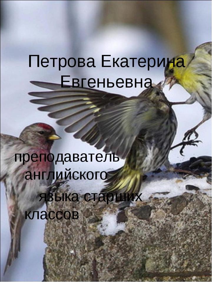 Петрова Екатерина Евгеньевна преподаватель английского языка старших классов