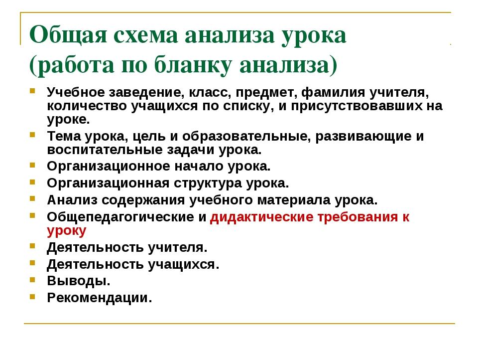 Общая схема анализа урока (работа по бланку анализа) Учебное заведение, класс...