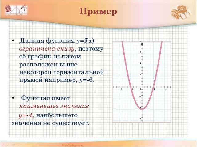 Пример Данная функция у=f(x) ограничена снизу, поэтому её график целиком расп...