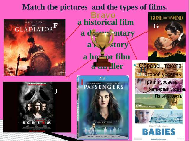 Match the pictures and the types of films. F G H I J a historical film a love...