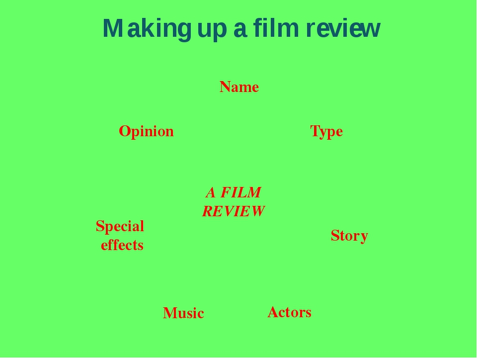 Making up a film review A FILM REVIEW Type Name Actors Story Opinion Music Sp...