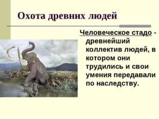 Охота древних людей Человеческое стадо - древнейший коллектив людей, в которо