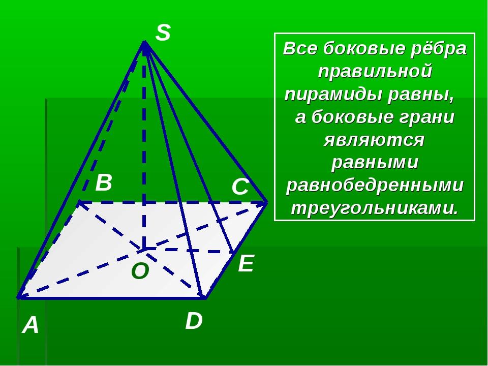 S A B C D O E Все боковые рёбра правильной пирамиды равны, а боковые грани яв...