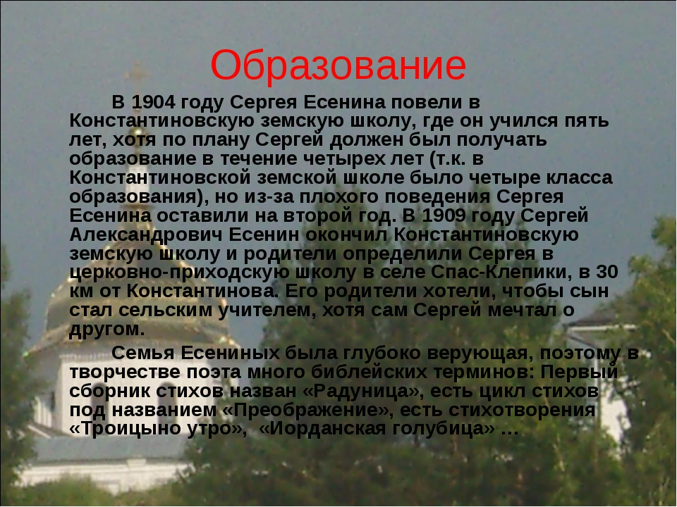 Образование В 1904 году Сергея Есенина повели в Константиновскую земскую шк...