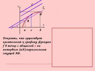у х А В а b c l l0 α Доказать, что существует касательная к графику функции f