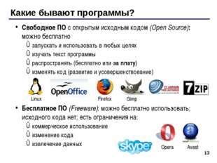 Какие бывают программы? Свободное ПО с открытым исходным кодом (Open Source):