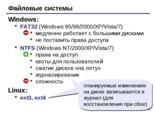 * Файловые системы FAT32 (Windows 95/98/2000/XP/Vista/7) медленно работает с