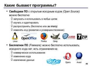 * Какие бывают программы? Свободное ПО с открытым исходным кодом (Open Source