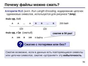 * Почему файлы можно сжать? Алгоритм RLE (англ. Run Length Encoding, кодирова