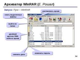 * Архиватор WinRAR (Е. Рошал) Запуск: Пуск – WinRAR сжать выделенные файлы ра