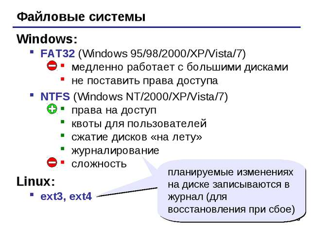 * Файловые системы FAT32 (Windows 95/98/2000/XP/Vista/7) медленно работает с...
