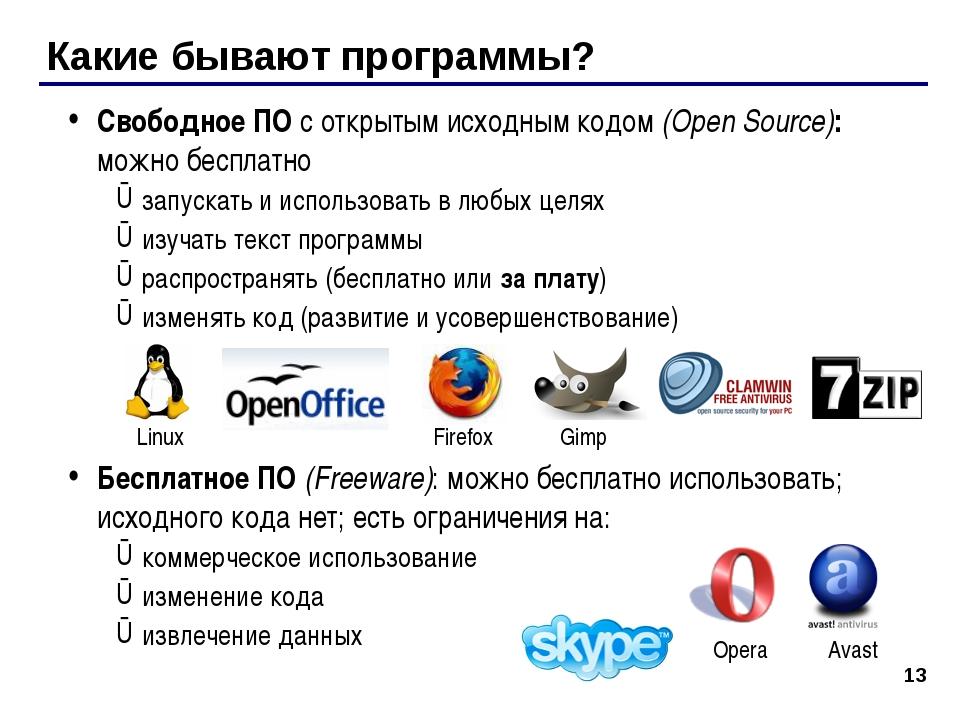 Какие бывают программы? Свободное ПО с открытым исходным кодом (Open Source):...
