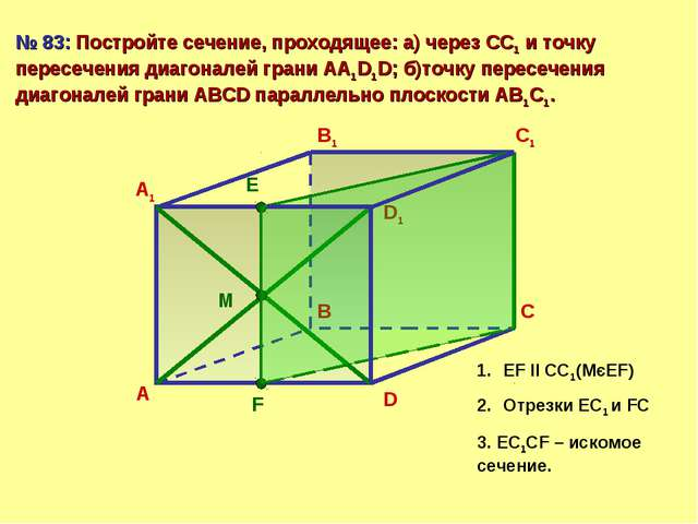 А В С D А1 В1 С1 D1 № 83: Постройте сечение, проходящее: а) через СС1 и точку...