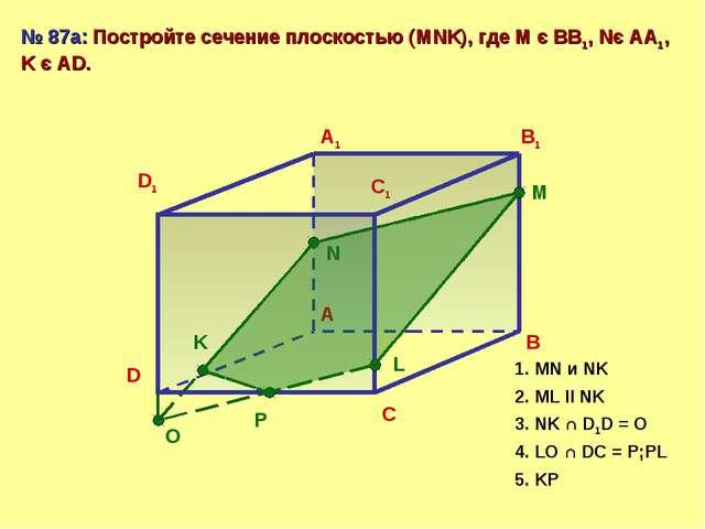 D A B C D1 A1 B1 C1 № 87а: Постройте сечение плоскостью (MNK), где М є ВВ1, N...